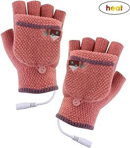 Unisex Women's & Men's USB Heated Gloves Mitten Winter Hands Warm Laptop Gloves,Yinuoday Full & Half Heated Fingerless Heating Knitting Hands Warmer Washable Design (Women Rose)