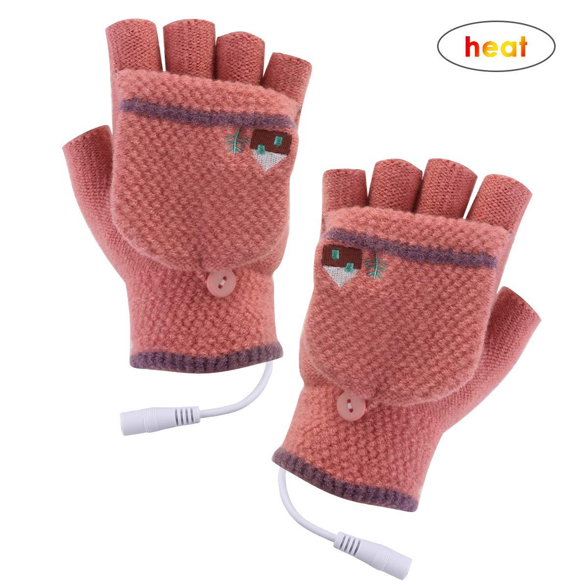 Yinuoday Unisex Women's & Men's USB Heated Gloves Mitten Winter Hands Warm Laptop Gloves Full & Half Heated Fingerless Heating Knitting Hands Warmer Washable Design