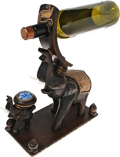 AeraVida Elephant and Little Calf Carved Wood Wine Bottle Candle Holder Statue
