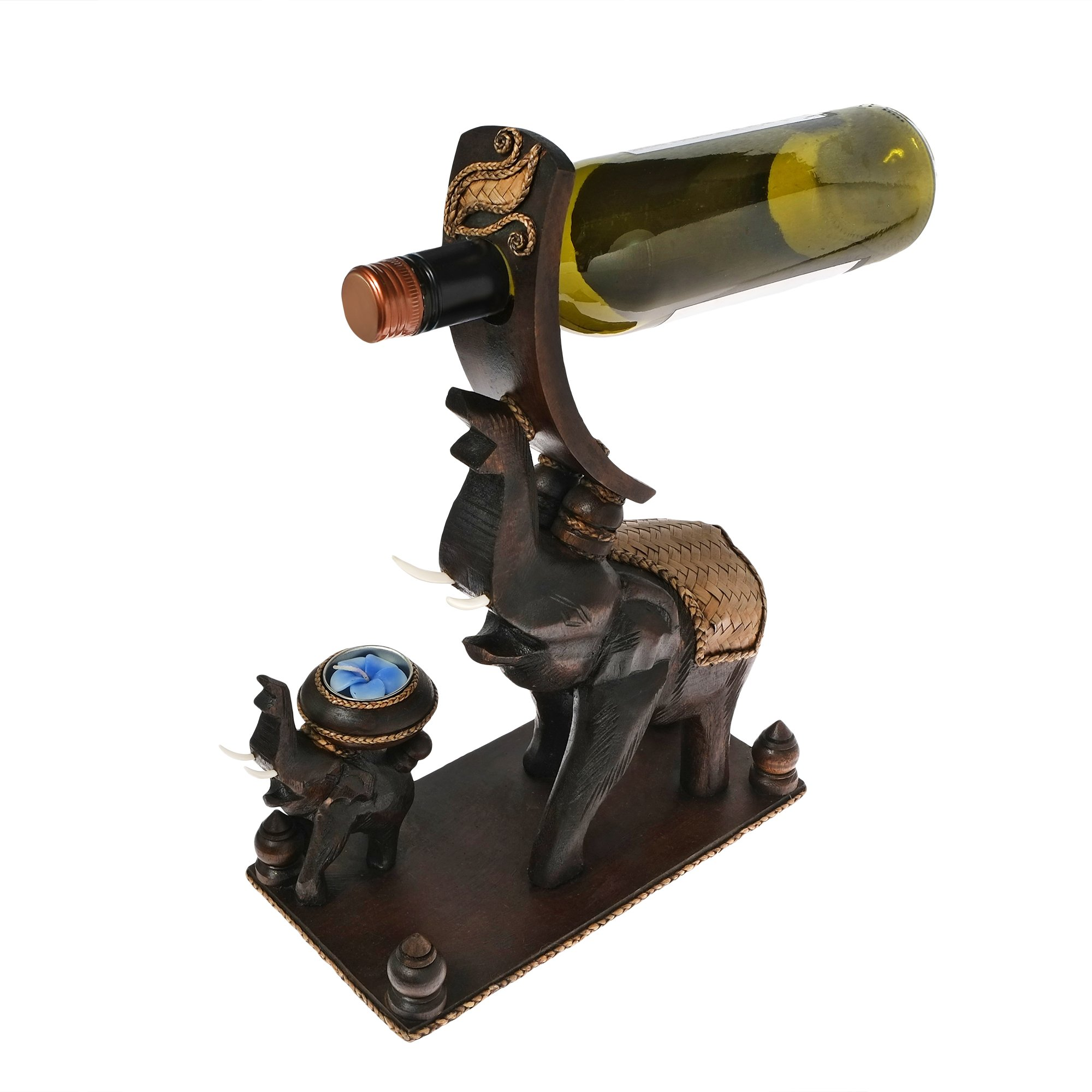 AeraVida Elephant and Baby Calf Carved Wood Wine Bottle & Candle Holder Statue