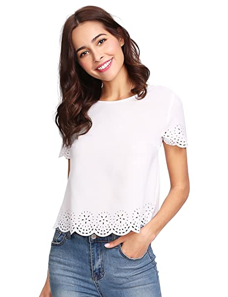 1da1d641fc SheIn Women's Casual Round Neck Summer Short Sleeve Scallop T-Shirt Top  Blouse White#