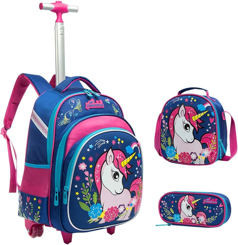 Mochila Escolar Trolley niña Unicornio, Mochila niños con Ruedas Mochilas con Ruedas para niños para niños niñas -Trolley de Ruedas para niños