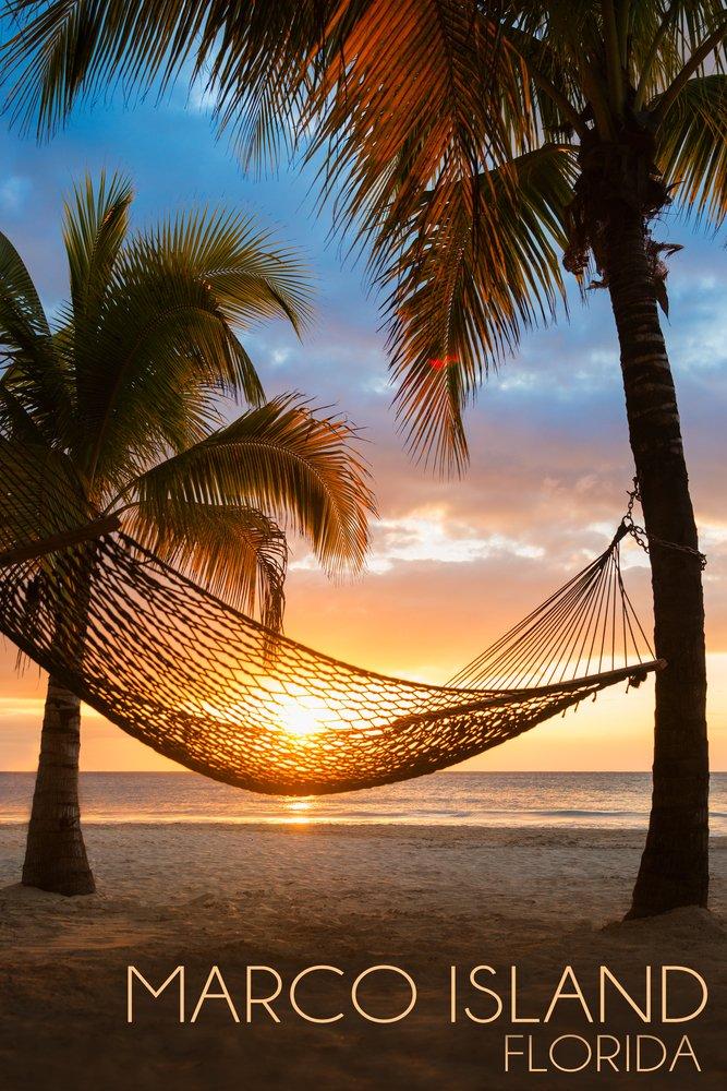 Marco島、フロリダ州 – ハンモックとサンセット 36 x 54 Giclee Print LANT-52820-36x54 36 x 54 Giclee Print  B017EA21OQ
