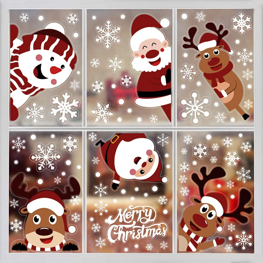 LOAVER 107PCS Christmas Window Clings,Xmas Snowflake Window Sticker Santa Claus Reindeer Decal for Home Decoration Party Supply