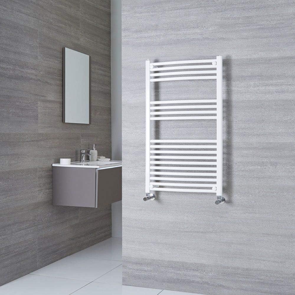 476W 800 x 600mm Acero Inoxidable Blanco Radiador Toallero de Pared para el Ba/ño con Estilo Moderno Hudson Reed Radiador Toallero ETNA de Dise/ño Moderno