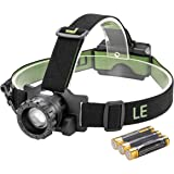 LE Zoomable 3 Modes Headlamp CREE LED Headlight Battery Powered Helmet Light for Sports Camping Running Hiking Reading Batteries Included
