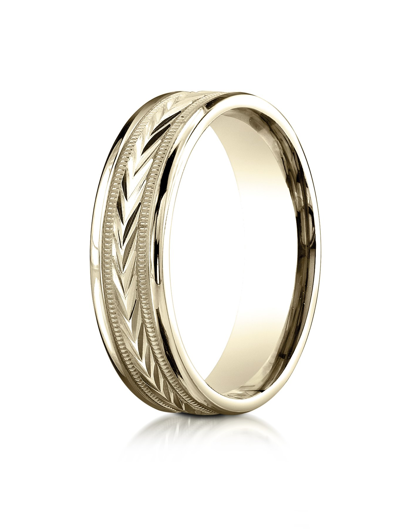 18k Yellow Gold 6mm Comfort-Fit Harvest of Love Round Edge Carved Design Wedding Band Ring for Men & Women Size 4 to 15