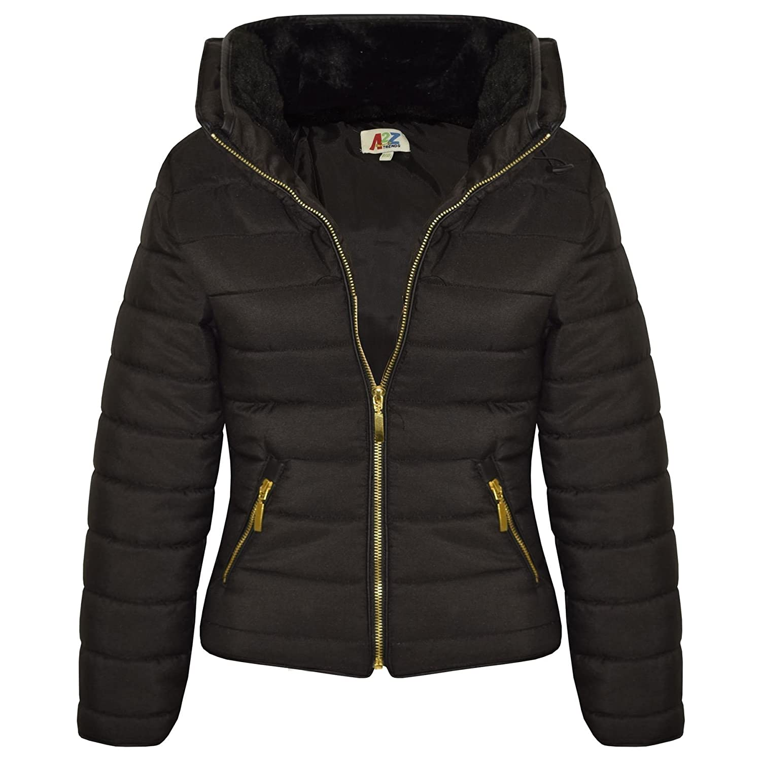 A2Z 4 Kids® Girls Jacket Kids Stylish Padded Puffer Bubble Faux Fur Collar Quilted Warm Thick Coat - Black - 11-12 Yr