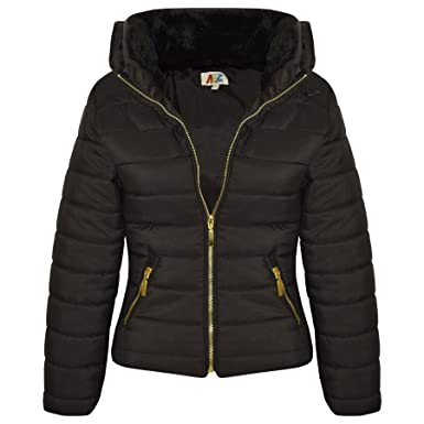 A2z 4 Kids Girls Jacket Stylish Padded Quilted Warm Bubble Faux Fur