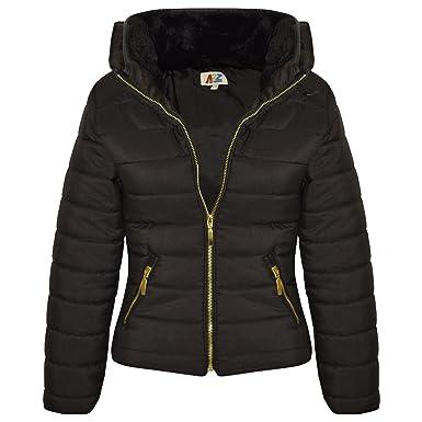 Amazon.com: Girls Jacket Kids Padded Black Puffer Bubble Fur ... : kids quilted jacket - Adamdwight.com