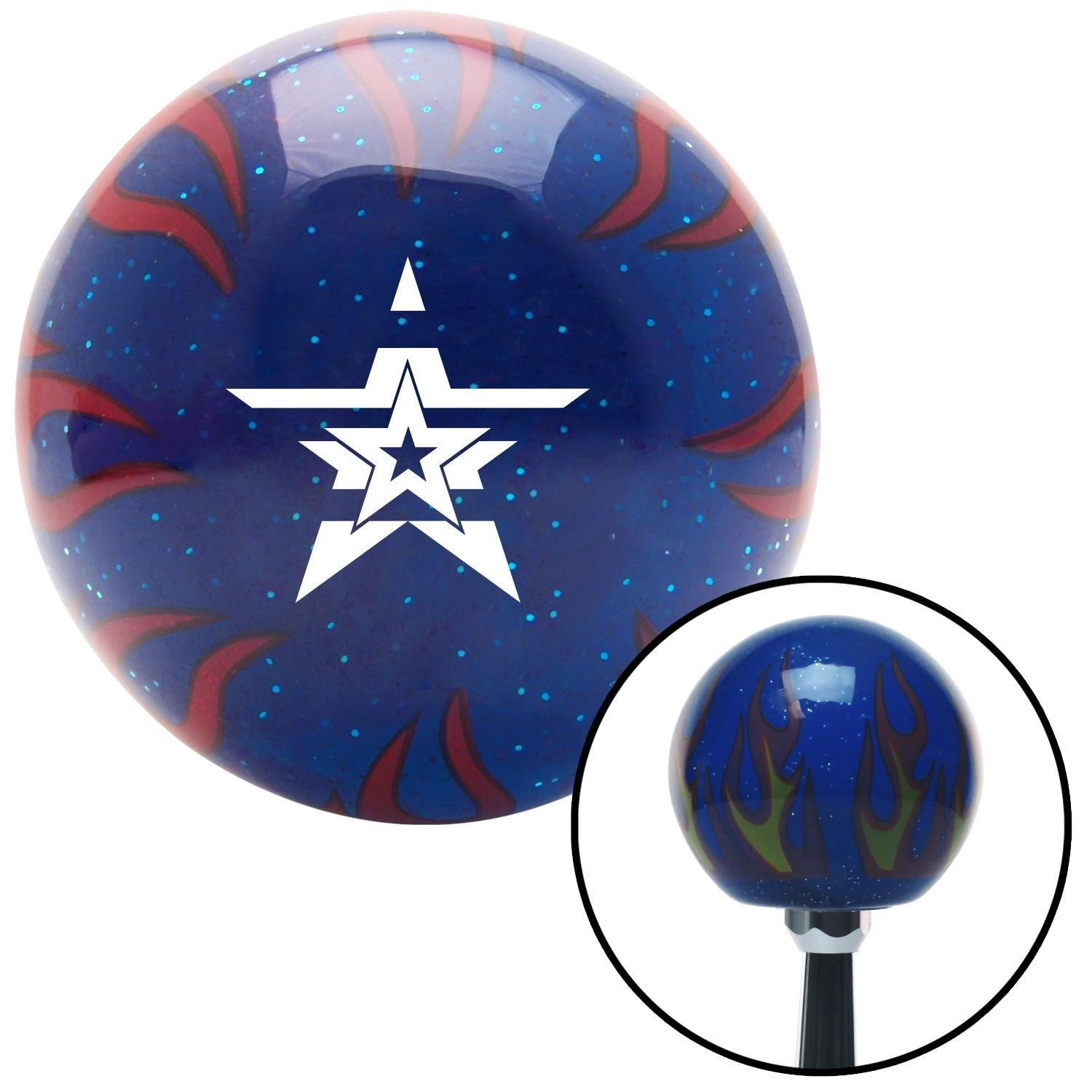 American Shifter 247682 Blue Flame Metal Flake Shift Knob with M16 x 1.5 Insert White Star in a Star in a Star
