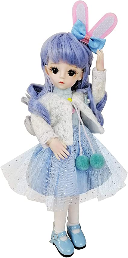 30cm BJD Doll Ball Jointed Girl Body Eyes Makeup Dress Wigs Shoes Kids Gift Toy