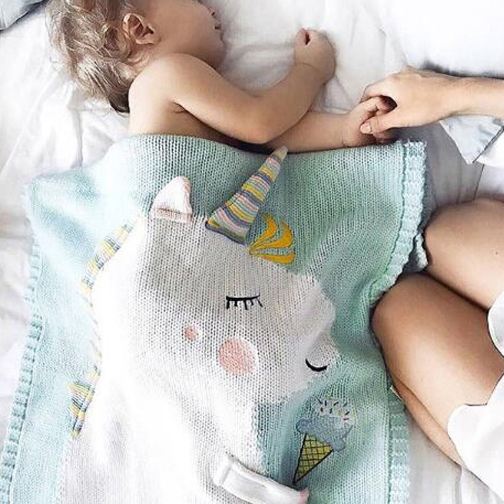 as described Pink Dovewill Baby Kids Soft Unicorn Knit Blanket Swaddle Quilt Rug Bedding Crib Stroller Wrap
