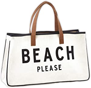 """Creative Brands Hold Everything Tote Bag, 20"""" x 11"""", Beach Please Black and White"""