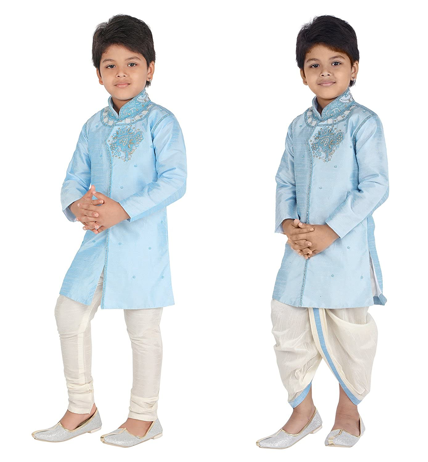 Ahhaaaa Kids Ethnic Indo Western Kurta Pyjamas Dhoti Pant Set for Boys (6-12 Months, Sky Blue)