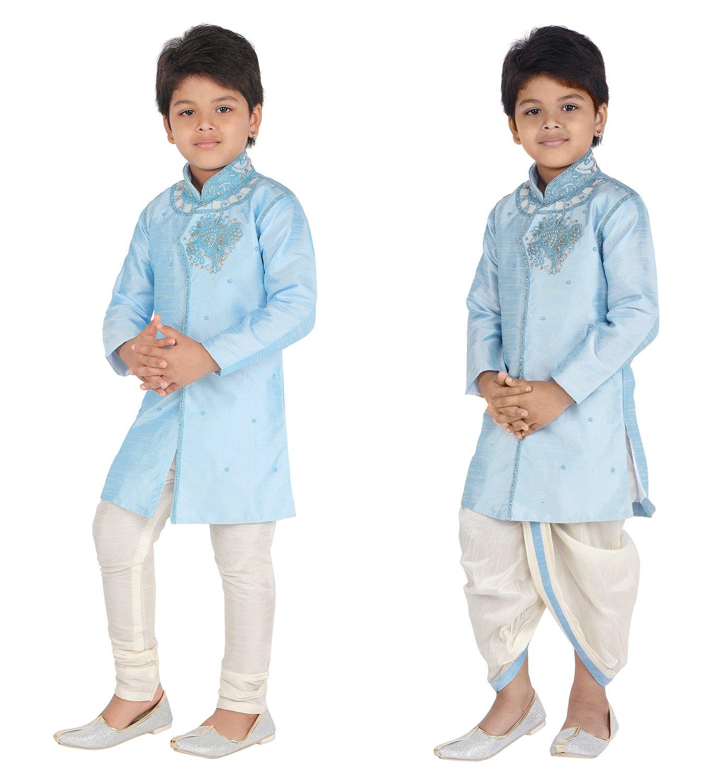 Ahhaaaa Kids Ethnic Indo Western Kurta Pyjamas Dhoti Pant Set for Boys (12-24 Months, Sky Blue)