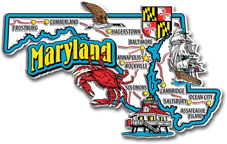 Maryland State Jumbo Map Magnet