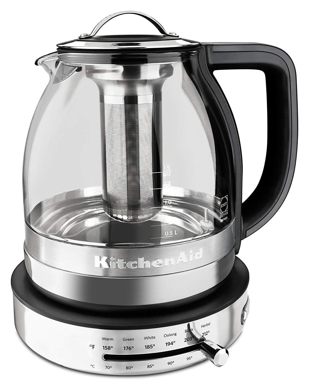 KitchenAid 605516-KEK1322SS Electric Glass Tea Kettle, 1.5 L, Stainless Steel (Renewed)