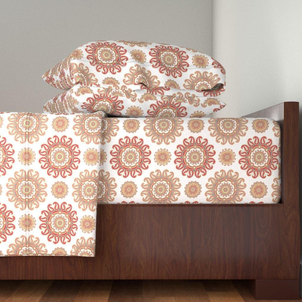 Roostery India 4pc Sheet Set Paisley Pink Pattern by Dariara King Sheet Set made with