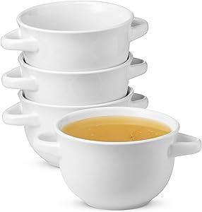 Soup Crocks with Handles, Ceramic Make, Soup, Chilli, by KooK, 22oz, Set of 4 (White)