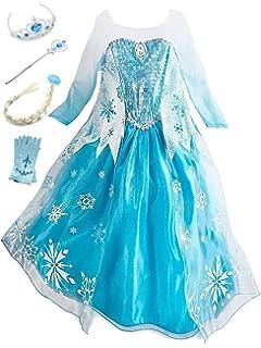 URAQT Disfraz de Princesa Frozen Elsa, Traje del Vestido ...