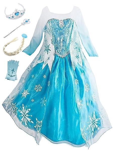 YOSICIL Princesa Disfraz de Princesa Frozen Elsa Disfraces de Princesa Gradiente Fancy Dress Elasticidad niña Lentejuela Impreso Nieve Accesorios con ...