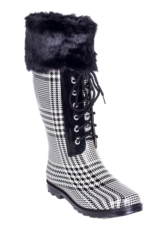Women Rubber Rain Boots, Faux Fur Cuff Mock Sock /w Laces Black,8