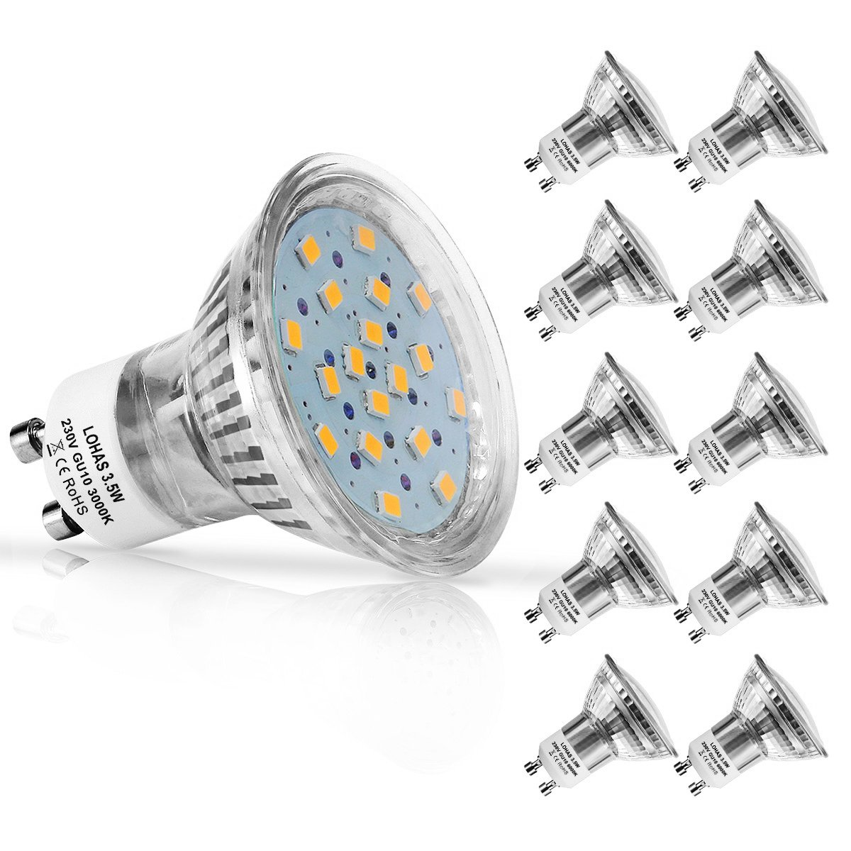 LOHAS® No-Regulable 3.5Watt GU10 LED Bombillas, Equivalente a 50Watt Lámpara Incandescente, 18 LED 2835 SMD Foco Luz Blanco Calído 3000K, 380lm, ...