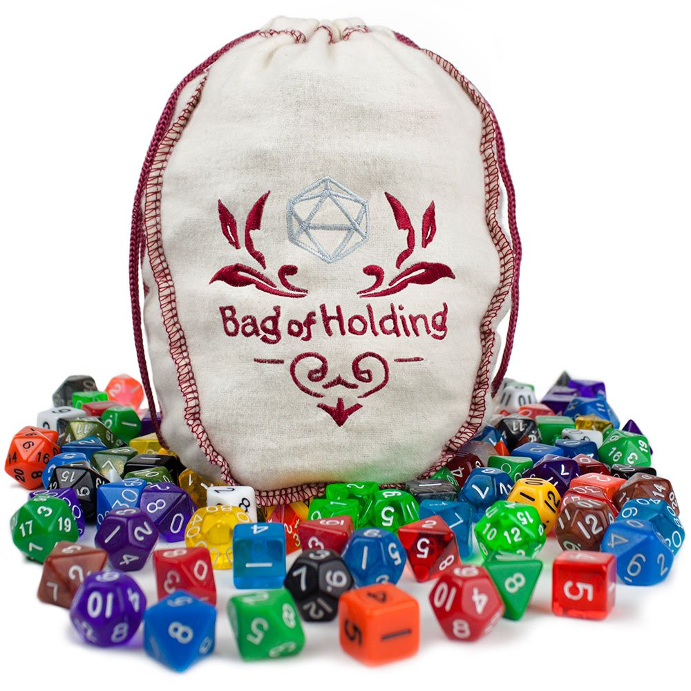Wiz Dice Bag of Holding: Collection of 140 Polyhedral Dice in 20 Guaranteed Complete Sets for Tabletop Role-playing Games – Solids, Translucents, Sultry Swirls & Shimmering Sparkles