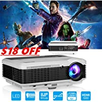 1080p LED Video Projector 3900 Lumens with Built-in Speakers, LCD HD Home Theater Projectors with HDMI USB VGA AV TV Audio Out, Multimedia Entertainment Projector for Movies Games DVD TV Party Karaoke