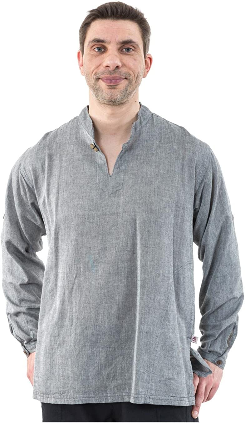 Fantazia camisa étnica Zen cuello Ma - gris Medium: Amazon.es ...