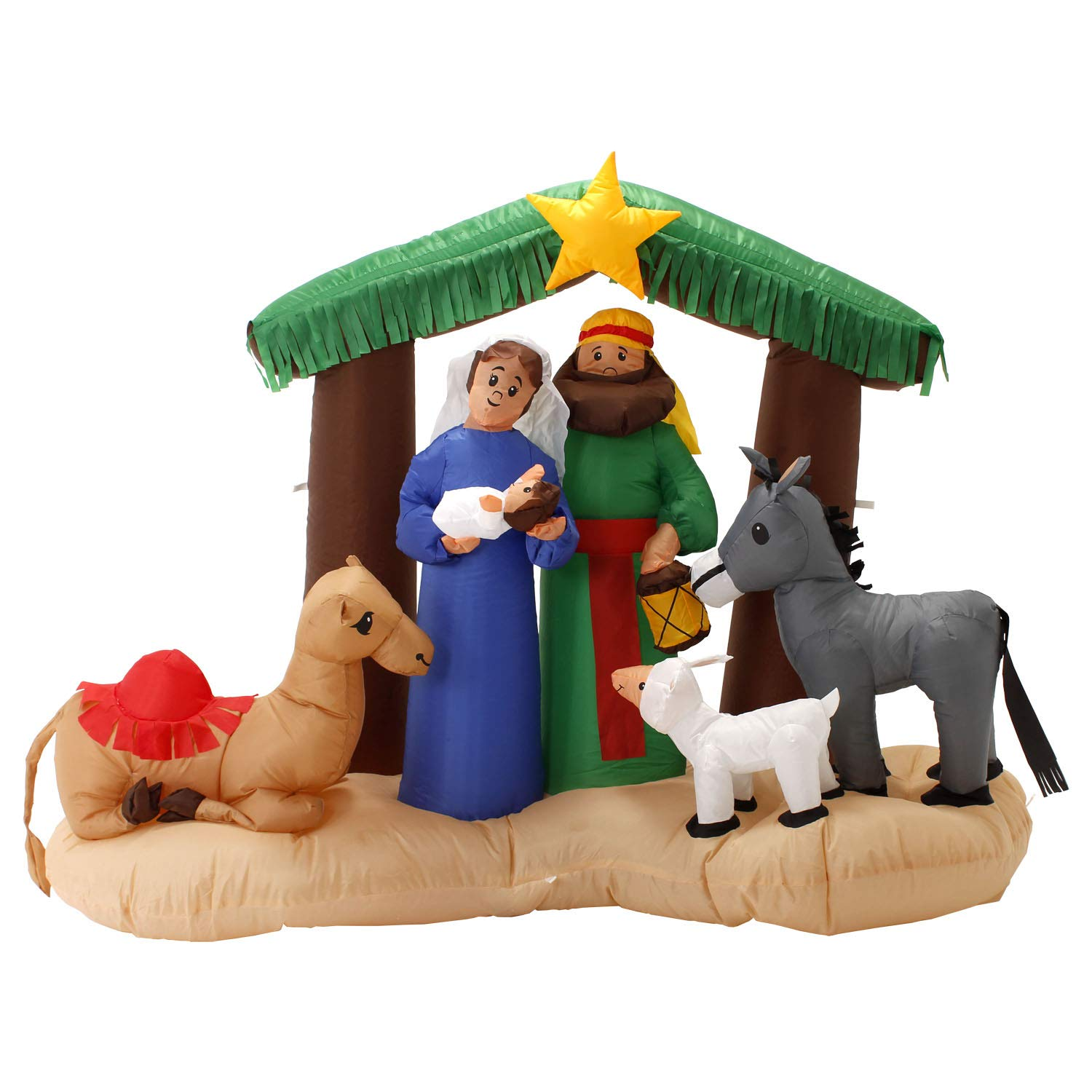 TCP Global Christmas Masters 6 Foot Wide Inflatable Holy Nativity Scene LED Lights Indoor Outdoor Yard Lawn Decoration - Mary, Joseph, Baby Jesus Xmas Holiday Party Blow Up Display