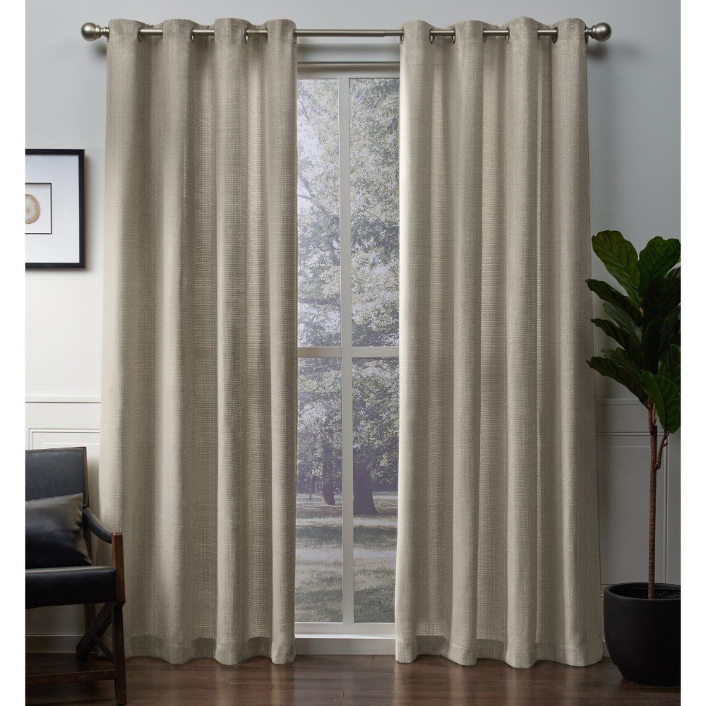54x96 Exclusive Home Curtains EH8232-01 2-96G Silver Exclusive Home Winfield Metallic Sheen Basketweave Grommet Top Curtain Panel Pair