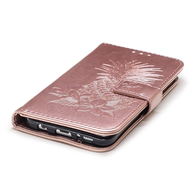 JAWSEU Compatibile con Samsung Galaxy S7 Custodia Premium Pu Portafoglio Protettiva Cover in Pelle Modello Goffratura Ananas Flip Leather Case con Supporto Magnetica Slot Bumper Case,