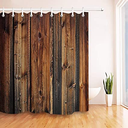 LB Rustic Brown Wood Panel Shower Curtain Farmhouse Style Wooden Texture Country 72x72