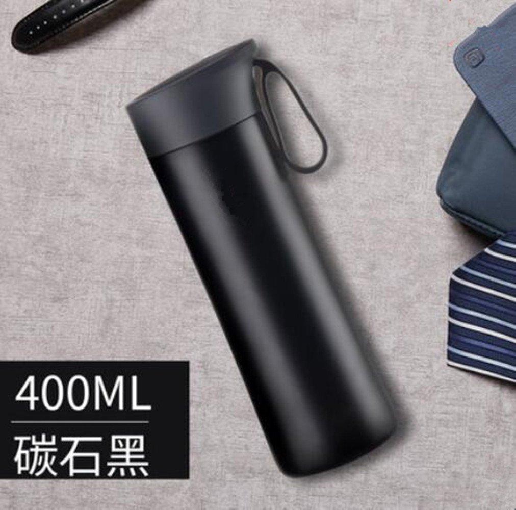 SHULING Wasser Cup Edelstahl Portable Iso-Becher Outdoor Heiße Wasser Vakuumsauger Schöne Kreative Begleiten, In 400-Ml-Becher, Schwarz