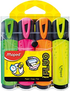 742547 Maped Fluo Peps Classic Highlighters Assorted Colors Pack of 4