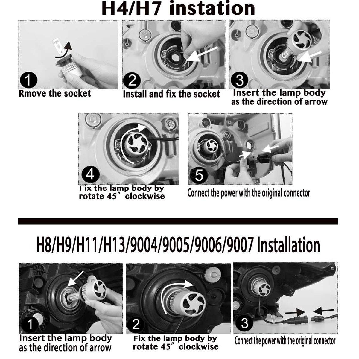 H11 H8 H9 Led Headlight Bulb Kit Super Bright 6000k 12k Kensun Hid Wiring Diagram White 7200lm High Low Beam Fog Light Bulbs Replacement Set Plug Play 2 Year Guarantee