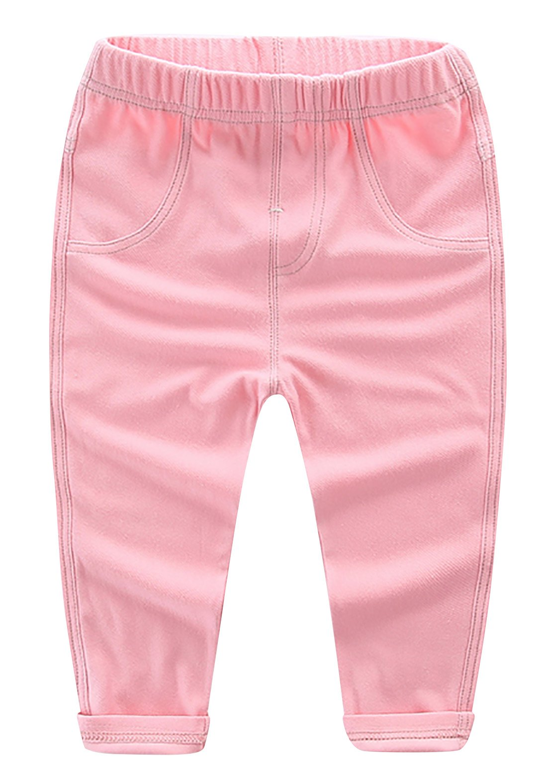 Baby Girls Denim Jeans Stretchy Leggings Pants Cotton Breathable Trousers Elastic Waist Summer Pants for Baby Boys Girls 0-6 Months Pink