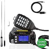 Radioddity QB25 Pro Quad Band Quad-Standby Mobile Ham Amateur Radio Transceiver Car Truck Vehicle Radio, VHF UHF 25W with Cab