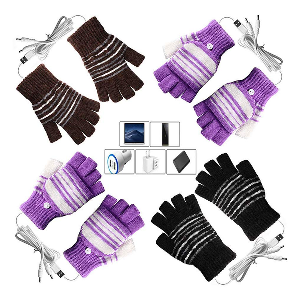 [4 Pack] USB Heated Gloves for Men and Women Mitten, AIKIN USB 2.0 Powered Stripes Heating Pattern Knitting Wool Heated Gloves Hands Warmer Laptop Gloves Fingerless Washable (2Purple+1Black+1Brown)