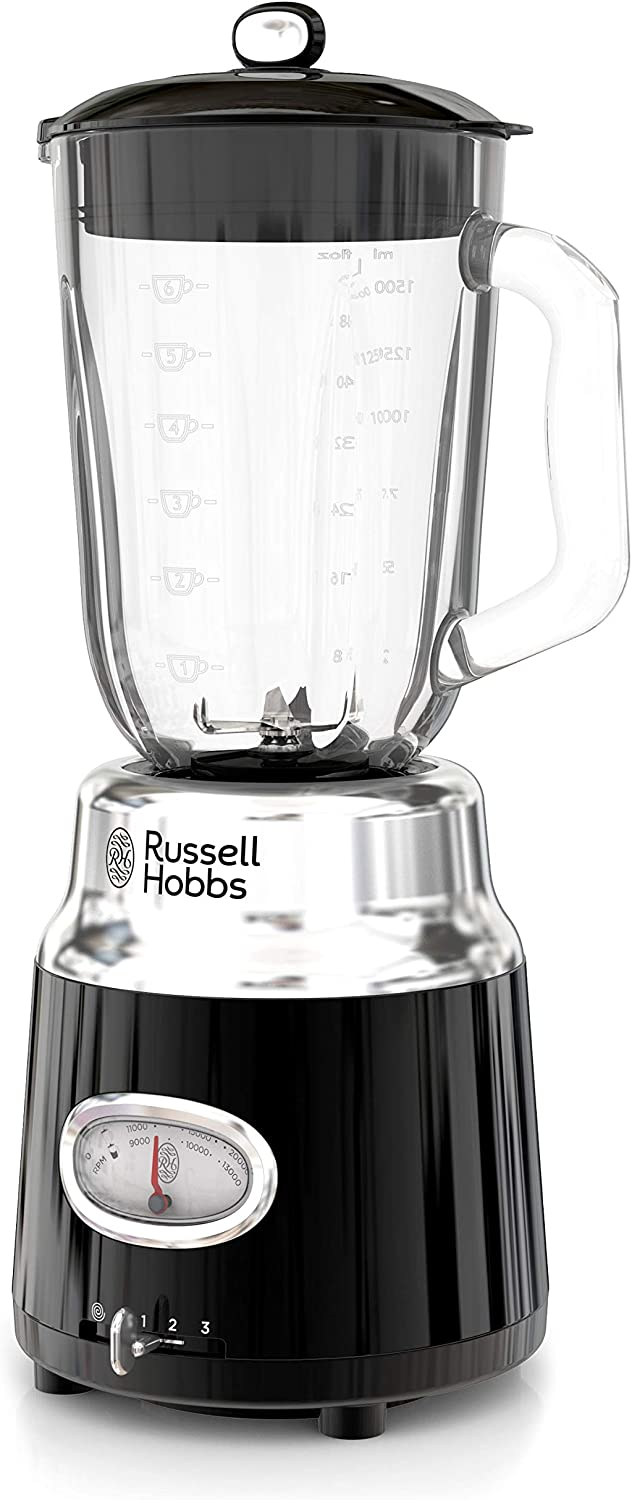 Russell Hobbs BL3100BKR Retro Style 6-Cup Blender, Glass Jar, Black