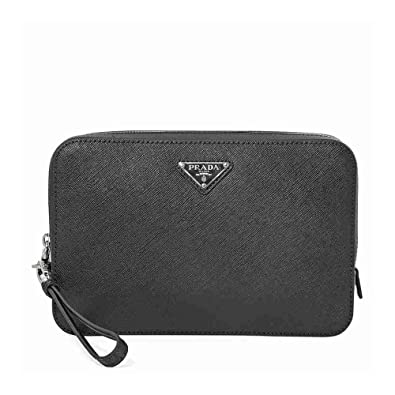1c068c2b1715 Image Unavailable. Image not available for. Color: Prada Mens Zip Around  Leather Clutch- Black