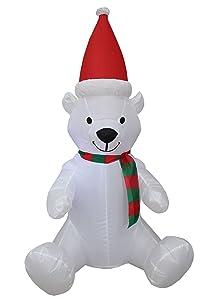 BZB Goods 4 Foot Tall Lighted Christmas Inflatable Polar Bear with Hat LED Yard Art Decoration