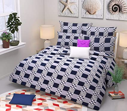AVGoods 3D Chess Pattern 140 TC Polycotton 6x6 Size Double Bed bedsheet with 2 Pillow Covers, King Size, Navy Blue