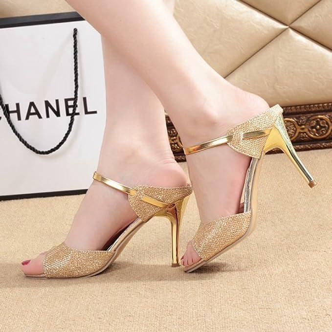 Zapatos de Tacón Zapatos de Tacón de Aguja Punta para Mujer Sandalias Zapatos Verano (3.5 pulgadas)(Oro): Amazon.es: Hogar