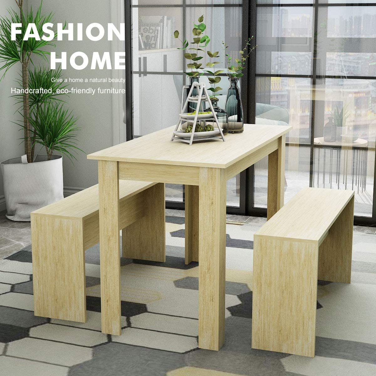 Lepak Kitchen Dining Table Sets For Small Spaces Wooden Dining Table With 2 Benches Rectangular Dinette Set For Cafe Restaurant Natural Dining Table With 2 Benches Amazon Co Uk Kitchen Home