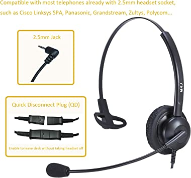 Amazon Com 2 5mm Phone Headset For Office Phones With Noise Cancelling Microphone For Panasonic Dect 6 0 Telephone Kx Tgf380m Kx Tga680 Cisco Spa303 504g At T Tl86103 Grandstream Uniden Dect Cordless Phones Home Audio Theater