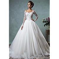 HAPPYMOOD Mujer Vestido de novia Vestido de novia Top de encaje Vestido de dama de honor de la boda Vestido de fiesta de graduación Largo Elegante Regalo nupcial