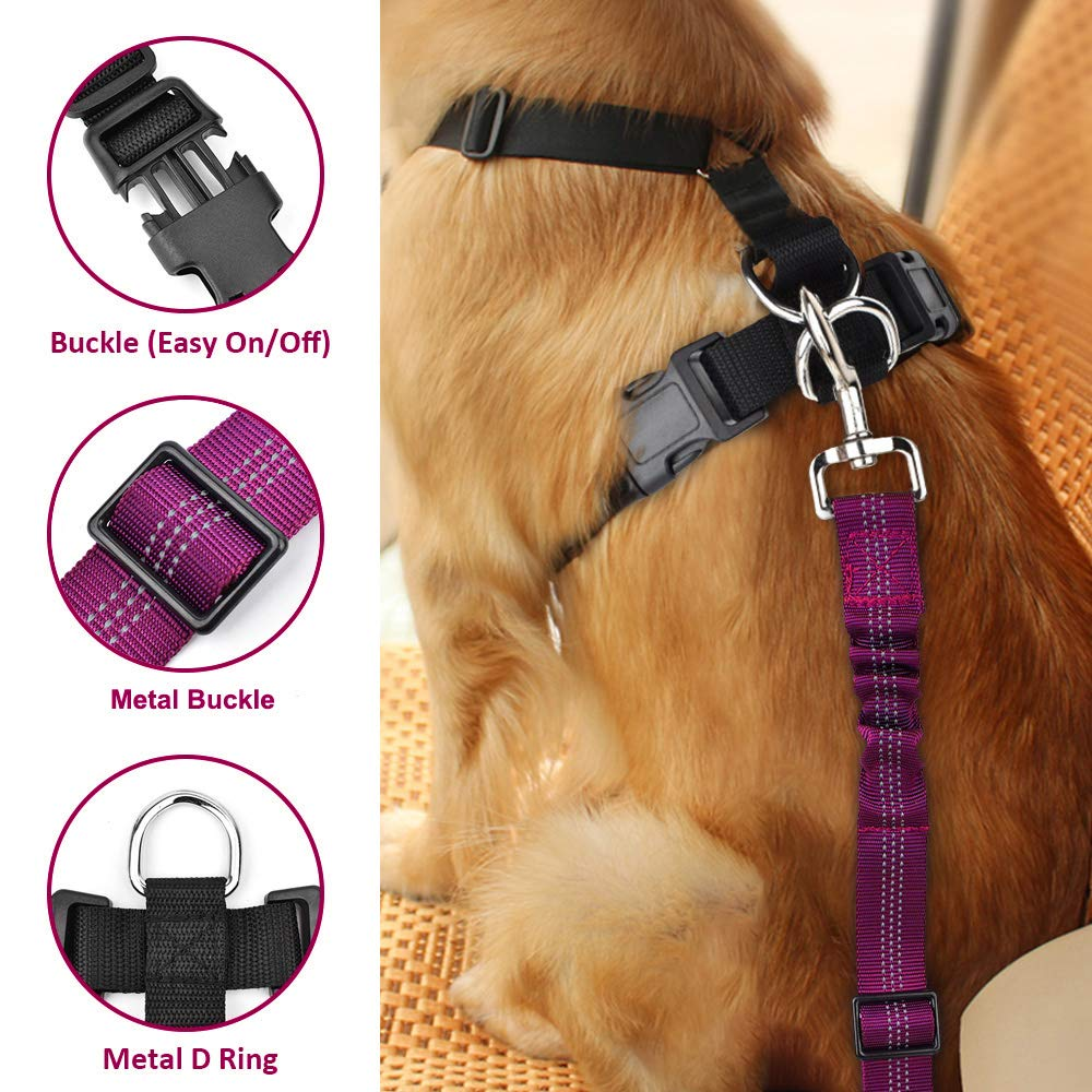 SlowTon Dog Car Harness Seatbelt Set Pet Vest Harness with Safety Seat Belt for Trip and Daily Use Adjustable Elastic Strap and Multifunction Breathable Fabric Vest in Vehicle for Dogs
